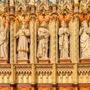 Sanctuary, left side: from left to right, the prophets Ezechiel, Malachi and Jonah, and the apostles St Simon and St Philip. On the columns: left, St Thomas Aquinas (1225-74, Dominican theologian) and St Charles Borromeo (1538-84, bishop, Church reformer); right, St Norbert (1080-1134, founder of the  Premonstratensians) and St Peter Damian (1007-72, Church reformer).