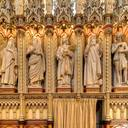 Sanctuary, right side: from right to left, Adam, Noah, Joseph (son of Jacob), Moses and the prophet Jeremiah. On the columns: right, St. Francis of Paola (1416-1507, founder of the order of Minims); left: St. John Vianney (1786-1859, the curé d'Ars) and St. Isidore of Seville (560-636, Latin Church Father).